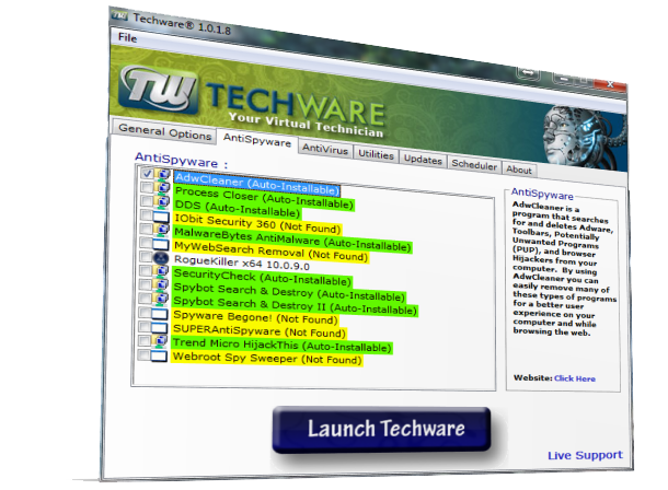 Techware screenshot Antispyware