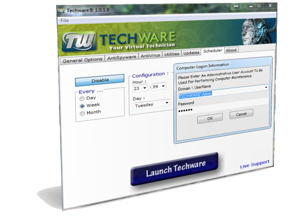 Techware screenshot Scheduler