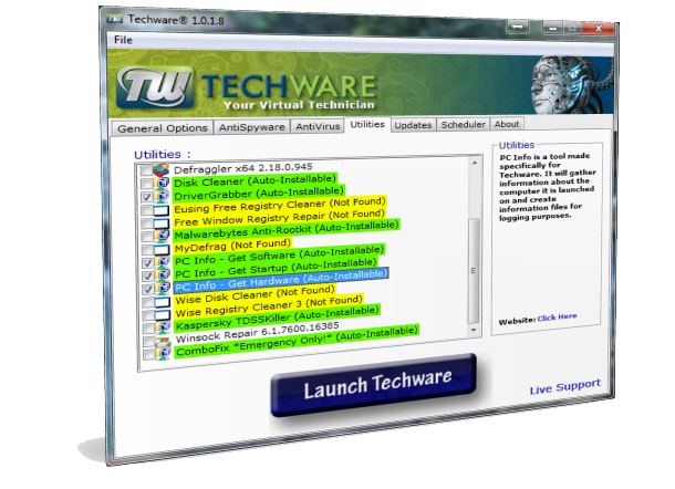 Techware screenshot Utilities
